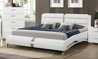 Jeremaine collection contemporary style white leather like vinyl queen size bed with chrome accents