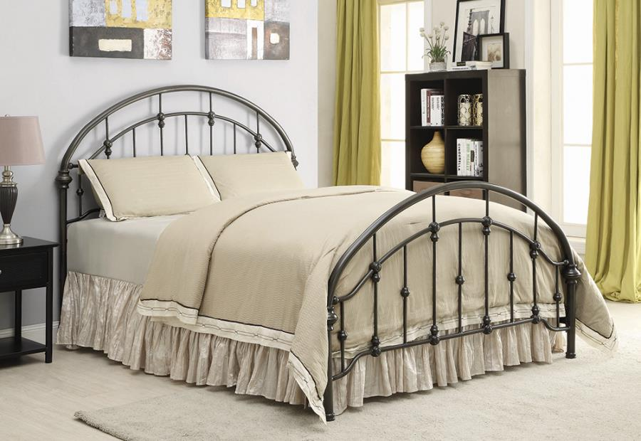 300407Q Stoney creek raul matte dark bronze finish metal queen bed