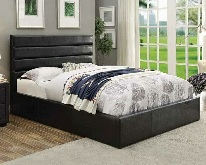 300469Q Riverbend collection contemporary style black leatherette upholstered queen size bed with storage