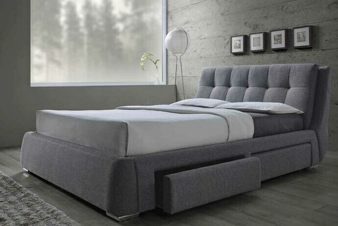 Fenbrook collection contemporary style grey fabric upholstered queen size bed with lower drawers