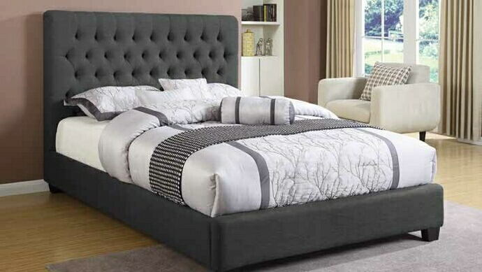 300529Q Charlton home chloe charcoal fabric queen bed set with tufted accents