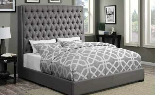 Camille collection grey fabric tufted upholstered contemporary style queen bed