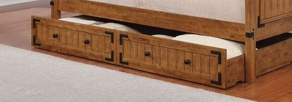 300676 Country living style rustic honey finish wood twin slide out trundle storage unit
