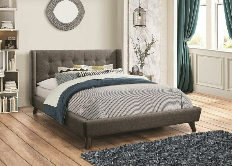 Carrington collection grey woven fabric tufted and upholstery queen size bed set