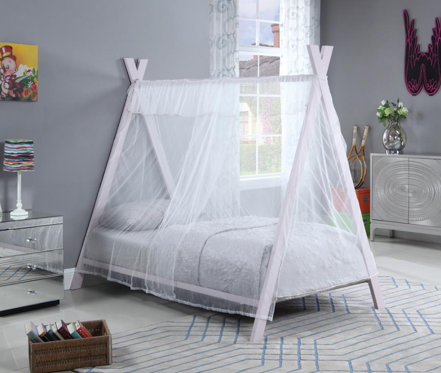 302133 Isabelle & max melfa fultonville white fabric light pink metal tee pee style twin canopy bed