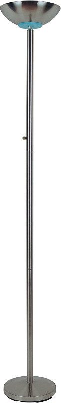 "SH Lighting 3033SN Palacial standard bulb torchiere floor lamp 72"" h silver with rotary switch"