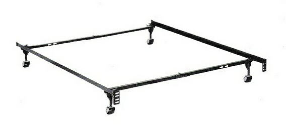 Twin / full size deluxe lev-r-lock bed frame with rug rollers with headboard attachment