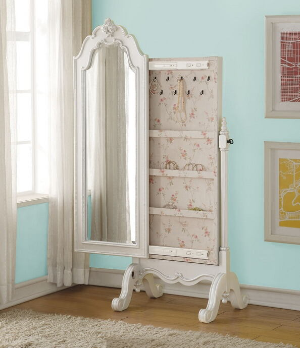 Acme 30520 Edalene pearl white finish wood bedroom cheval storage mirror
