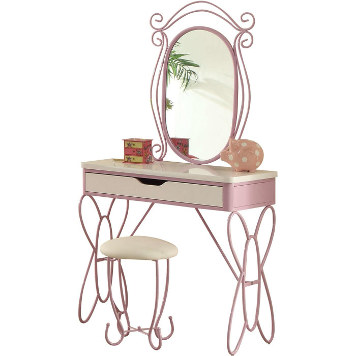 Acme 30539 3 pc priya butterfly shaped white / light purple finish metal bedroom vanity set