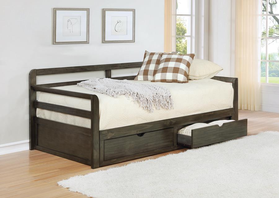 305706 Gray barn morning glory country living style grey finish wood twin XL day bed with extension trundle