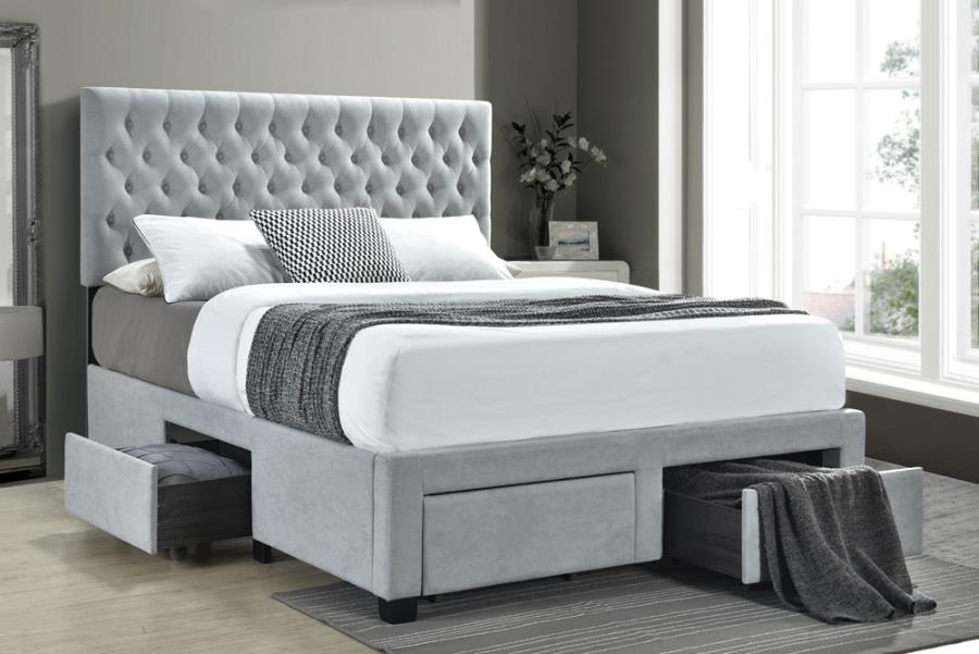 305878KE House of hampton soledad light grey fabric tufted headboard storage eastern King bed set