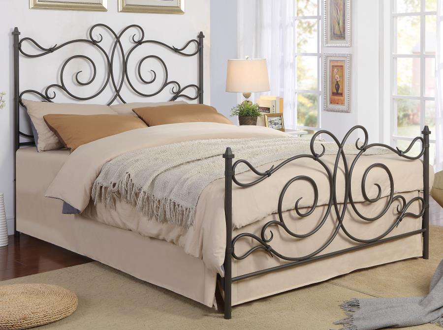 305967Q Stoney creek fairfield curly dark bronze finish metal queen bed