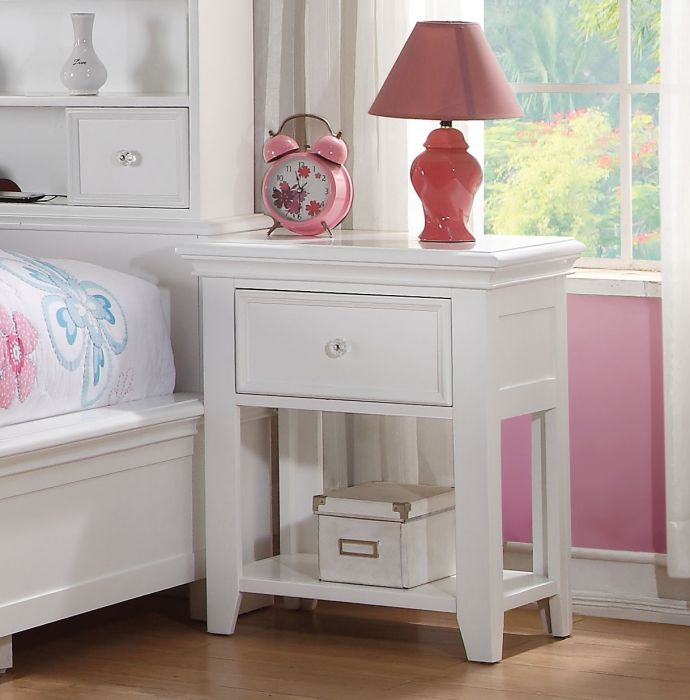 Acme 30598 Lacey white finish wood nightstand bed side end table
