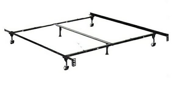 Queen / cal king / eastern king size deluxe lev-r-lock bed frame with rug rollers with headboard attachment