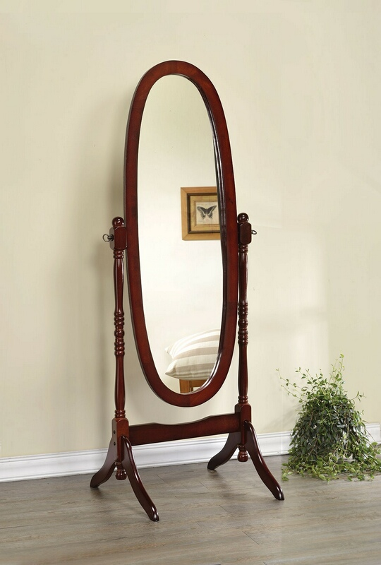 Coaster 3101 Warm brown finish wood oval turned post free standing cheval bedroom dressing mirror