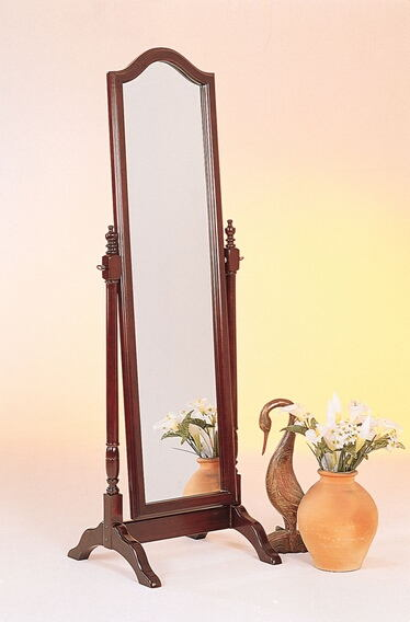 Cherry finish wood arched top turned post free standing cheval bedroom dressing mirror