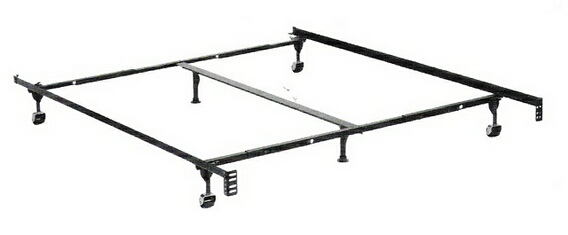 Queen / cal king / eastern king size supreme atlas-lock bed frame with rug rollers with headboard attachment