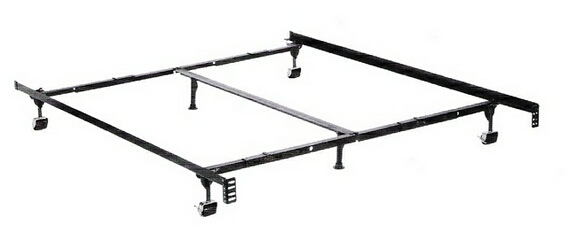 Queen / cal king / eastern king size premium lev-r-lock bed frame with rug rollers with headboard attachment
