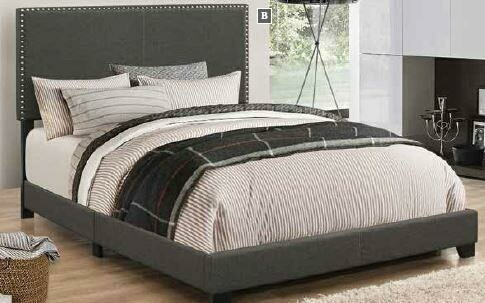 Coaster 350061Q Muave II collection charcoal fabric upholstery queen size bed set with nail head trim