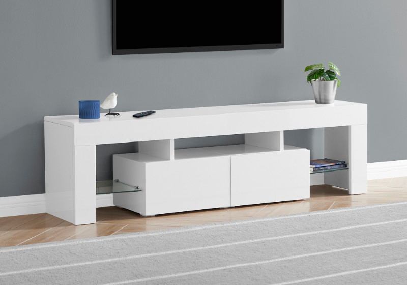 """TV STAND - 63""""L / HIGH GLOSSY WHITE WITH TEMPERED GLASS"""