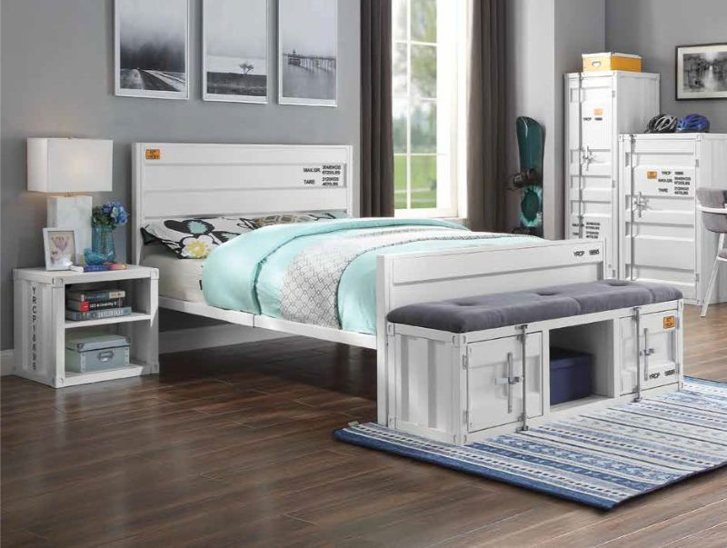 Acme 35900T-2PC 2 pc Transport cargo white metal kids twin bed and nightstand set