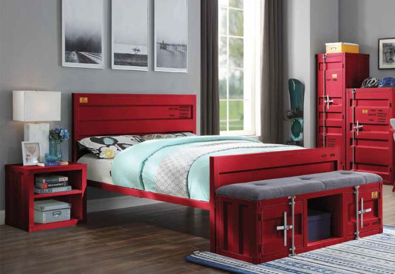 Acme 35950T-2PC 2 pc Transport cargo red metal kids twin bed and nightstand set