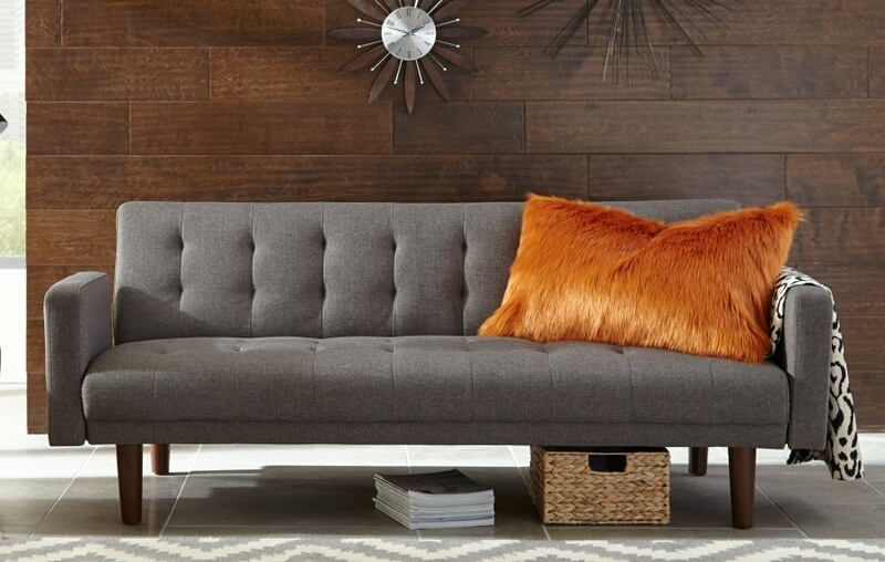 360150 Skyler grey woven fabric sofa futon bed with tufted backs