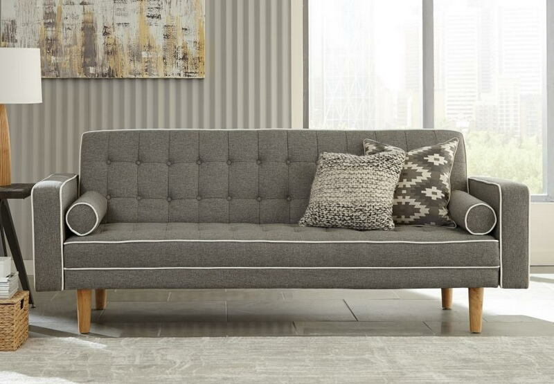 360022 Luske Collection Grey And White Woven Fabric Upholstered Sofa Futon  Bed With Tufted Backs