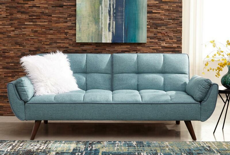 360025 Cheyenne collection turquoise blue woven fabric upholstered sofa futon bed with tufted backs