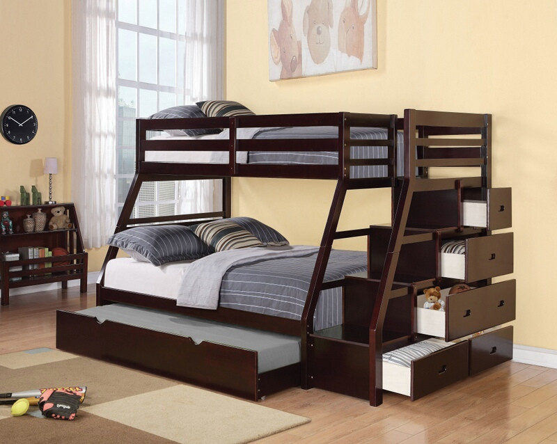 Acme 37015 Jason espresso finish wood twin over full bunk bed set stair case drawers trundle