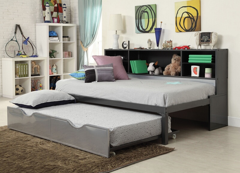 Acme 37225T Renell silver black metal twin day bed bookcase pull out trundle