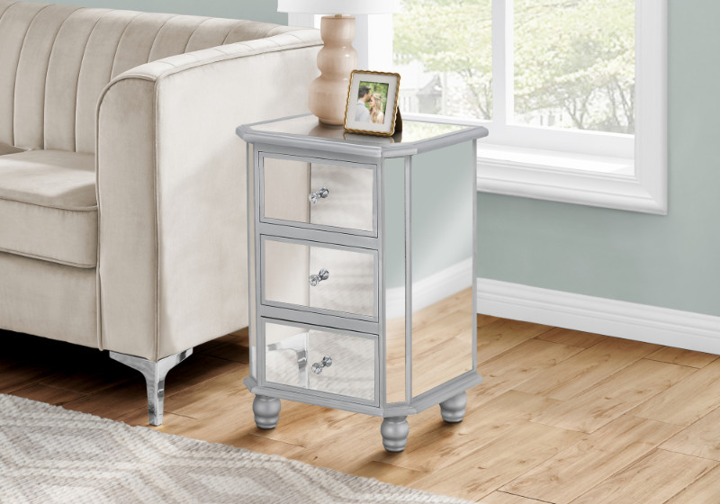 """ACCENT TABLE - 28""""H / MIRROR / SILVER WITH STORAGE"""