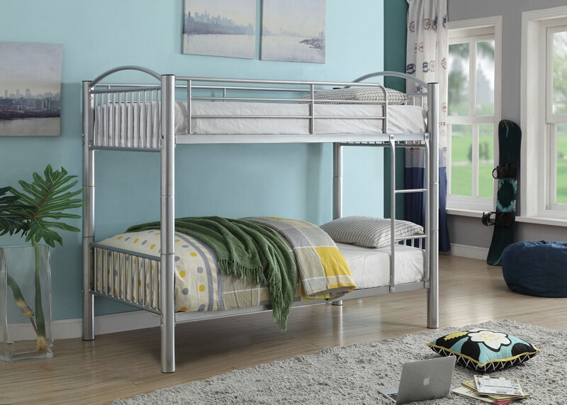 Acme 37385SI Harriet bee eder cayelyn silver finish metal frame twin over twin bunk bed