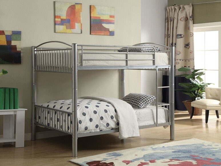 Acme 37390SI Clayville cayelyn silver finish metal frame full over full bunk bed