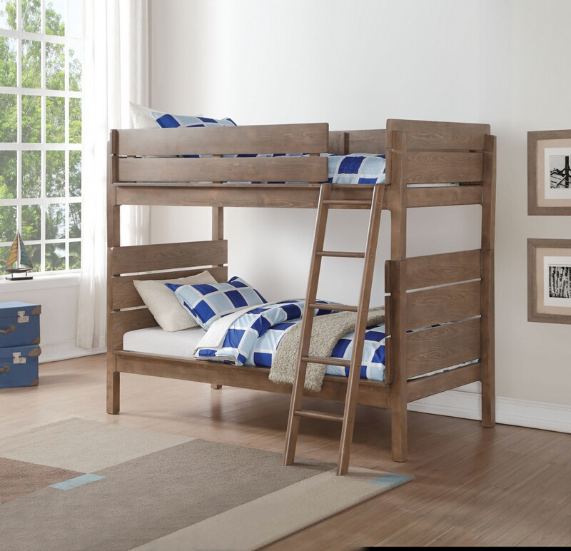 Acme 37400 Ranta antique oak finish wood twin over twin bunk bed set