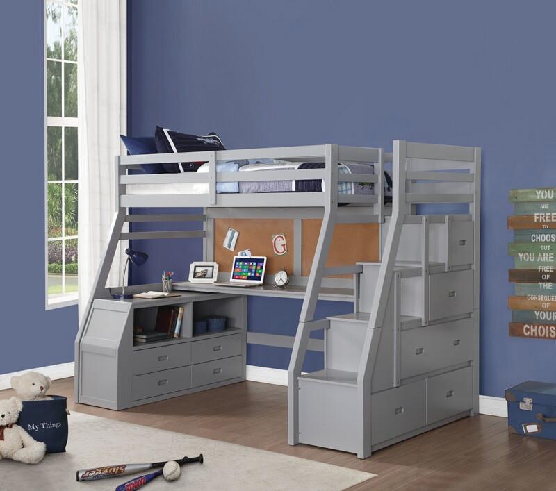 Acme 37445 Zoomie kids jeremiah jason II gray finish wood twin size loft bed desk drawers steps