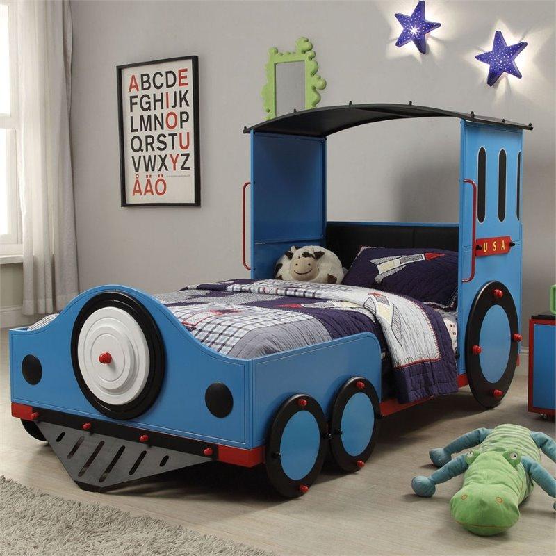 37560T Tobi blue finish metal frame train locomotive twin sie kids bed set