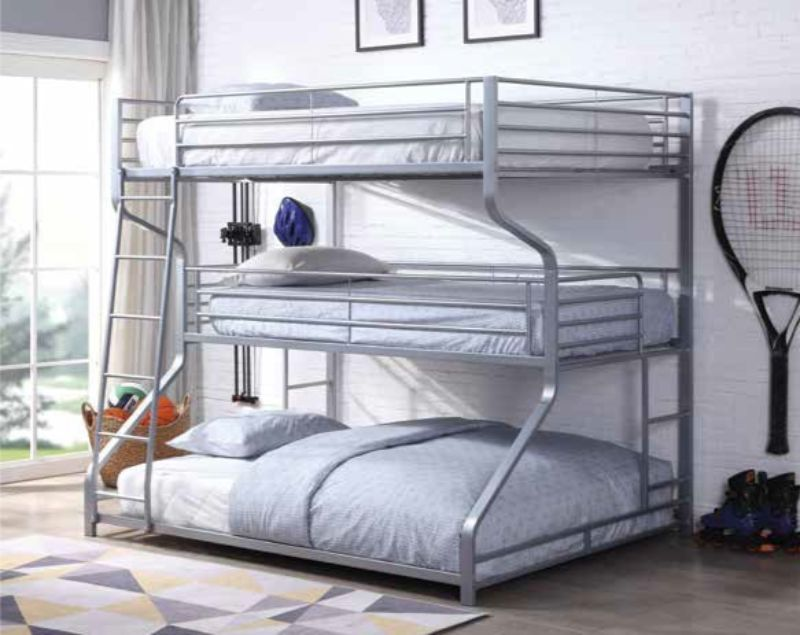 Acme 37790 Caius II silver finish metal triple bunk bed set Twin / full / queen