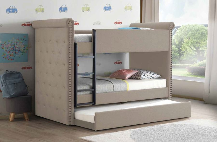 Acme 37850 Harriet bee fuchs romana II beige fabric twin over twin bunk bed with trundle