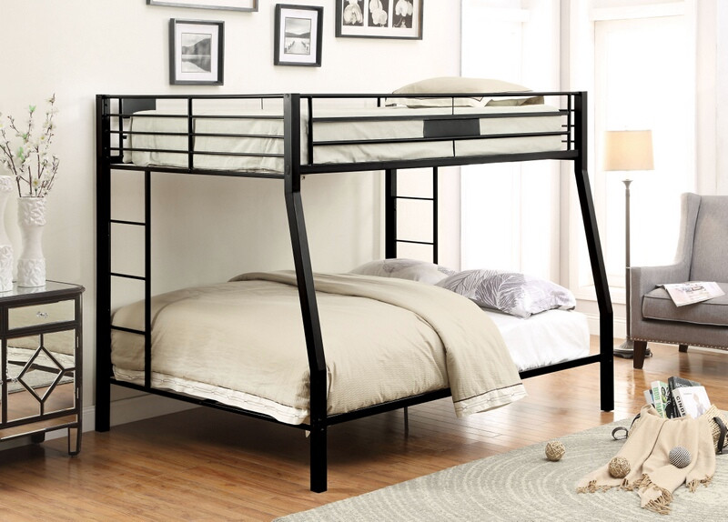 Acme 38005 Harriet bee donnan limbra ii black sand finish metal frame full over queen bunk bed set