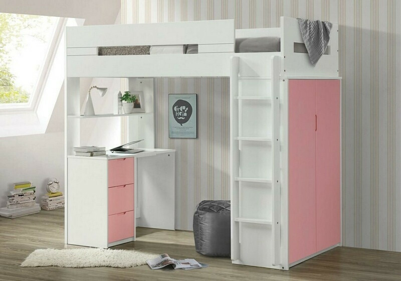 Acme 38040 Mack & Milo abinash nerice white / pink finish wood loft bunk bed set desk drawers armoire