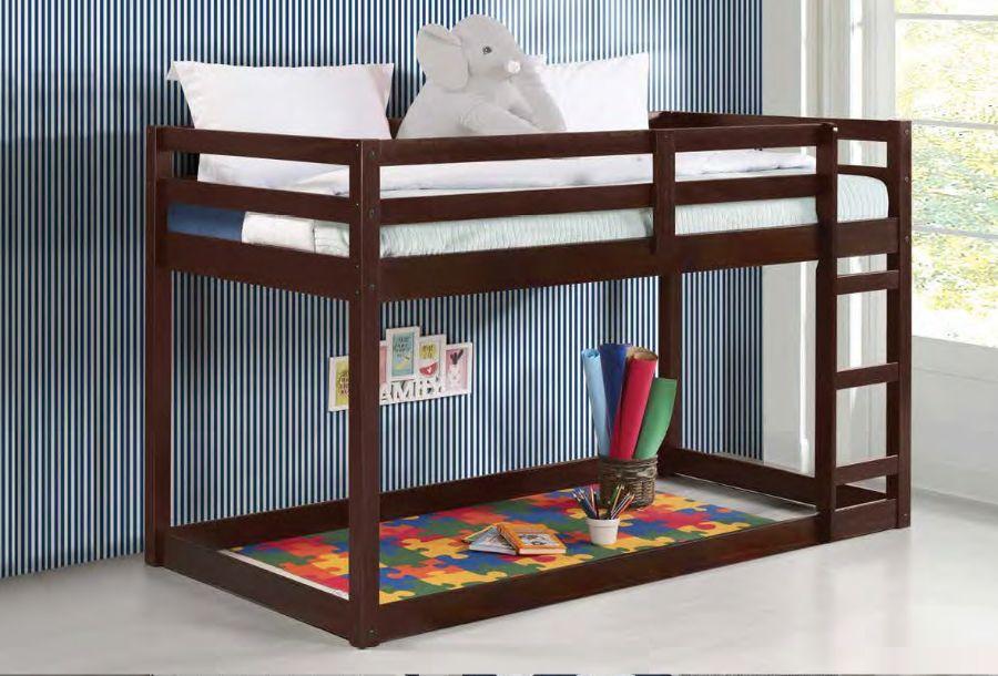 Acme 38185 Harriet bee kohen gaston espresso finish wood twin loft bed with lower play area