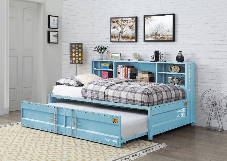 Acme 38265 Wildon home cargo container style twin aqua finish metal day bed with storage headboard and trundle