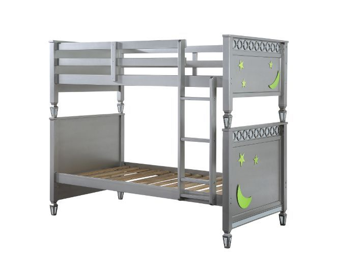 Acme 38325 Harriet bee chula powell silver finish wood twin over twin bunk bed set celestial design
