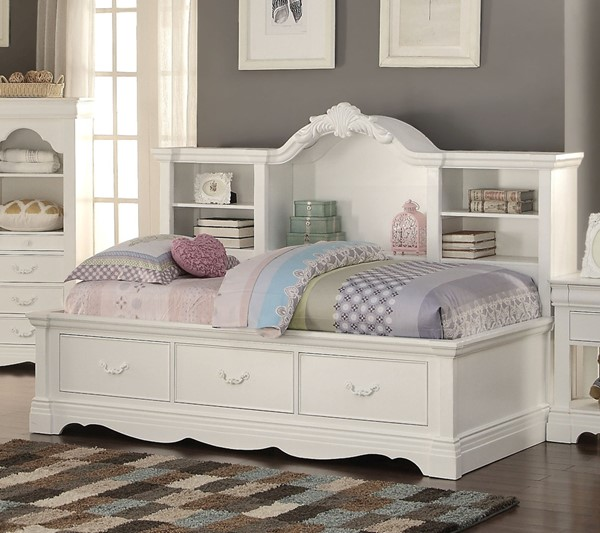 Acme 39150 Harriet bee satchell estrella white finish wood twin day bed with pull out storage drawers