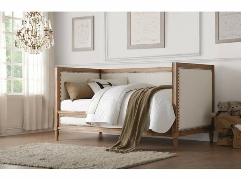 Acme 39175 One allium way timothee charlton salvage oak finish cream linen nail head trim wood twin day bed