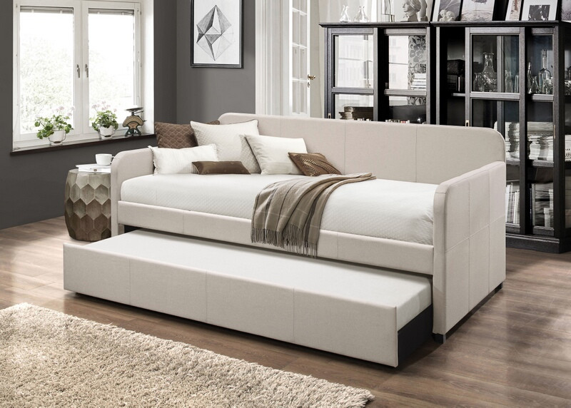 Acme 39190 Winston porter jagger beige fabric twin day bed with trundle
