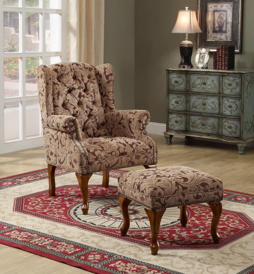 Light brown and burgundy damask patterned fabric upholstered button tufted wing chair with cherry finish legs and nail head trim