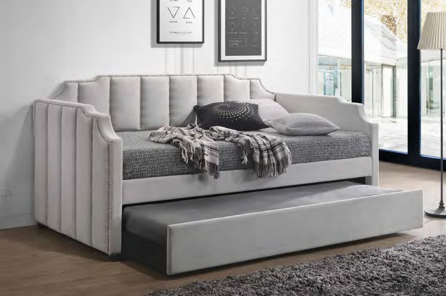 Acme 39410 Red barrel studio gerry peridot dove gray velvet nail head trim twin day bed with trundle