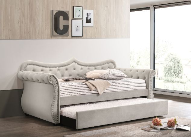 Acme 39430 Alcott hill armijo adkins beige velvet fabric day bed with pull out trundle